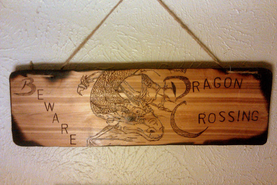 Dragon Crossing Sign Board Mockup