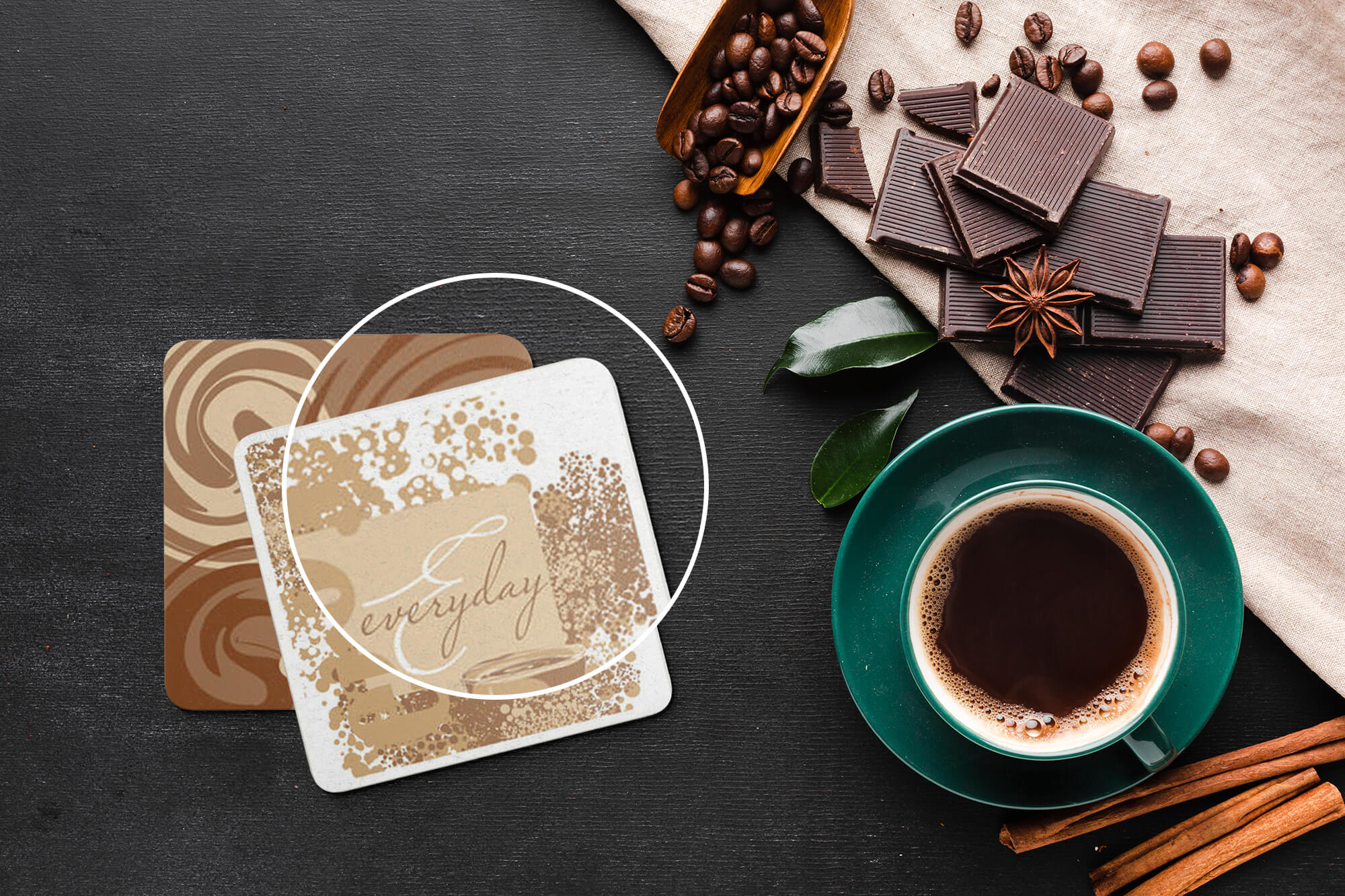 Free Drink Coaster Mockup PSD Template