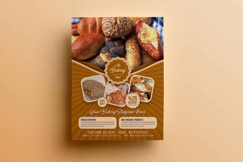Editable Bakery Flyer PSD
