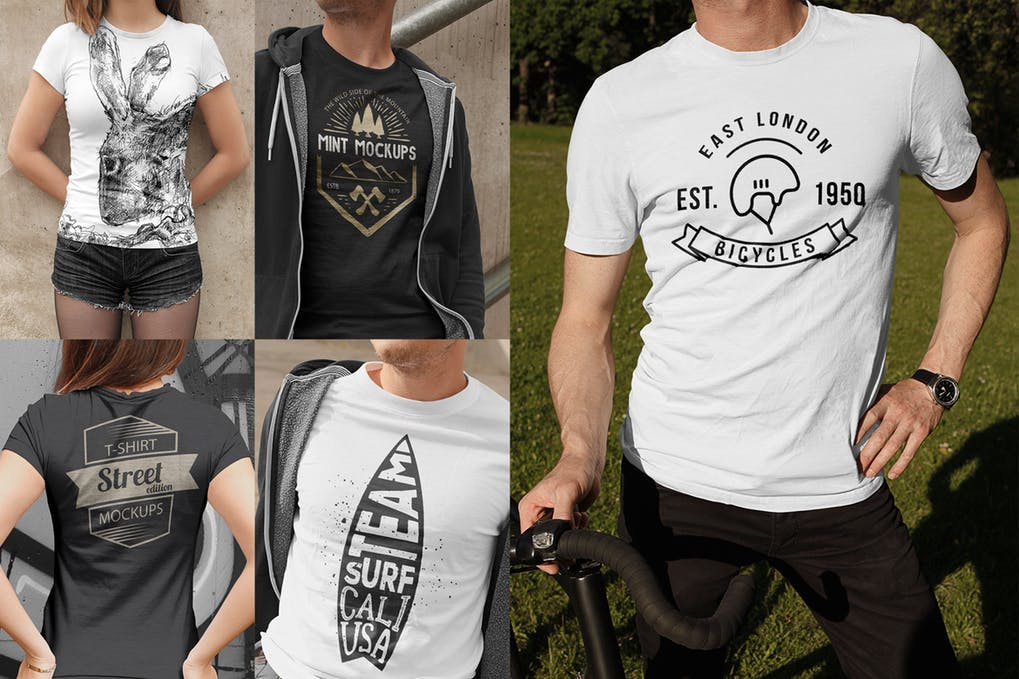 Editable Black And White Colored T-shirt Mockup.