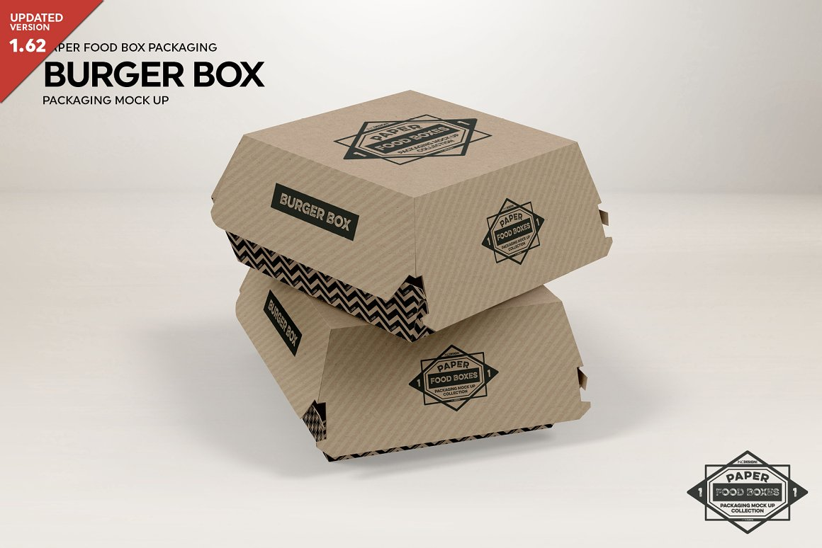 Editable Burger Box Mockup.