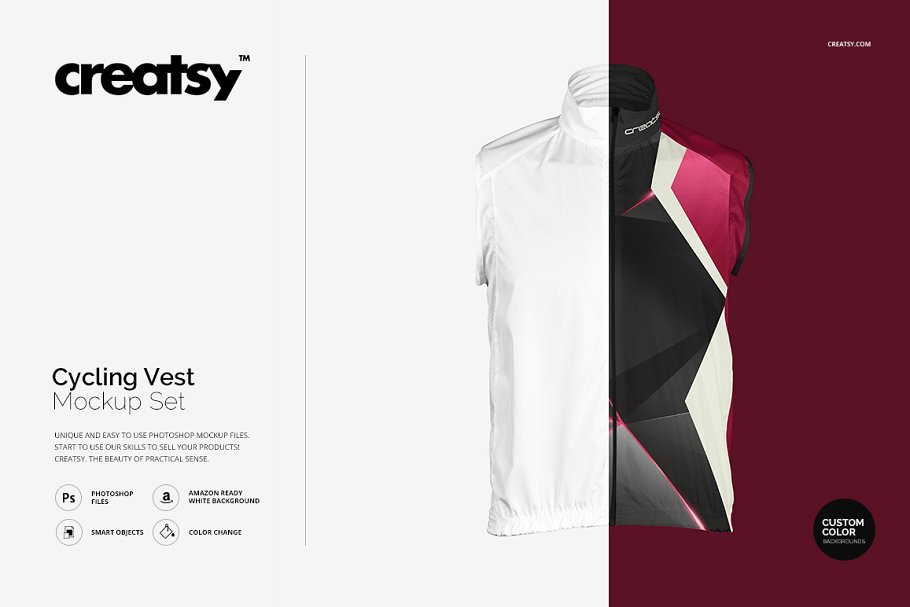 Editable Cycling Vest Mockup.
