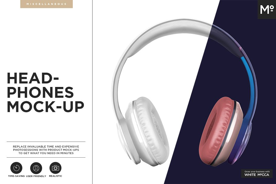 Editable Headphones PSD Mockup.