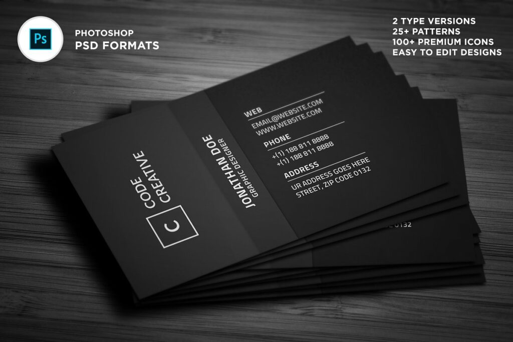Editable Smart Black Business Card Template