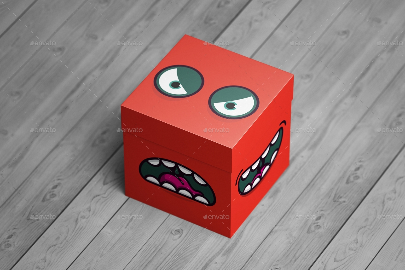 EditableSquare Packaging Box Mockup with Emojis