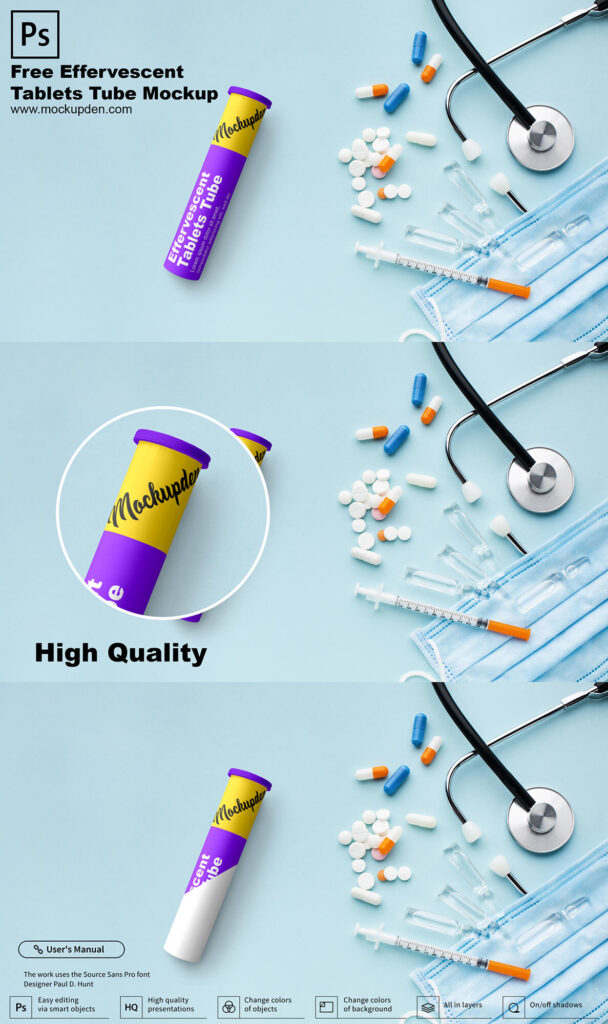 Free Effervescent Tablets Tube Mockup PSD Template