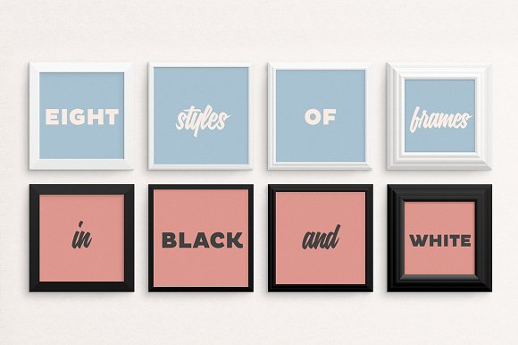 Eight Square Free Poster Mockup PSD Frame Template Design
