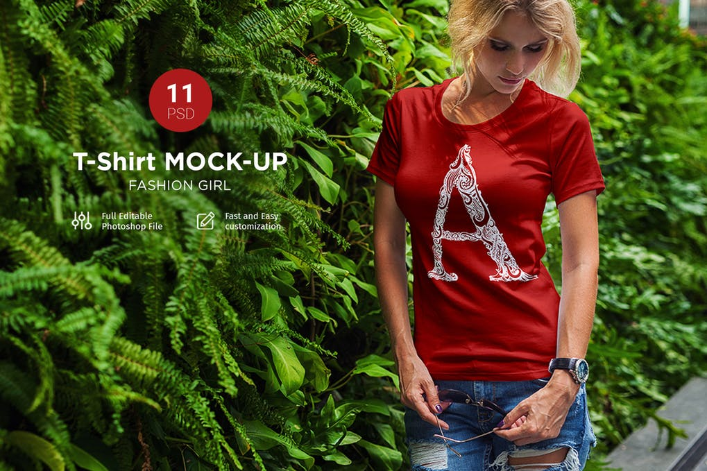 Fashionable Girl Wearing Red Colored T-shirt