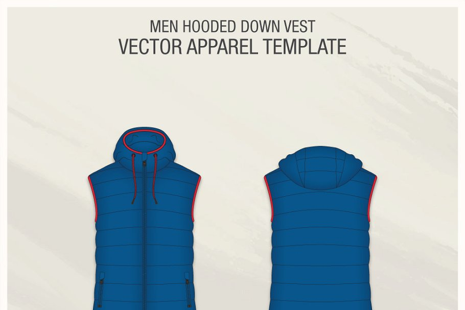 Fashionable Hoodie Vest For Men Template.