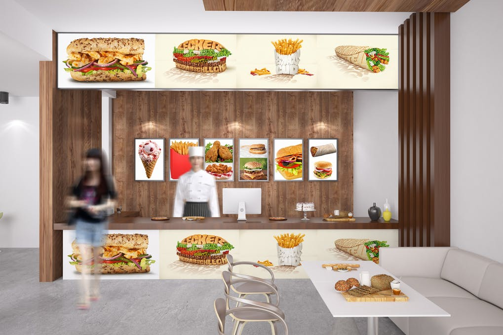 Fast Food Store View PSD Template
