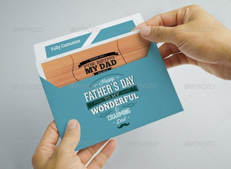 Father's Day Card And Envelope Mockup