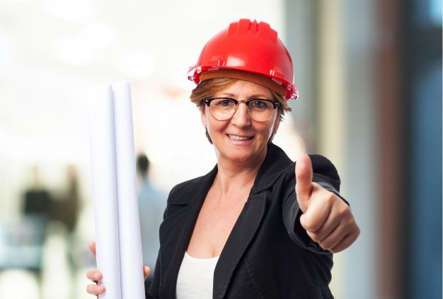 Female Architect With Red Helmet Template Design Idea