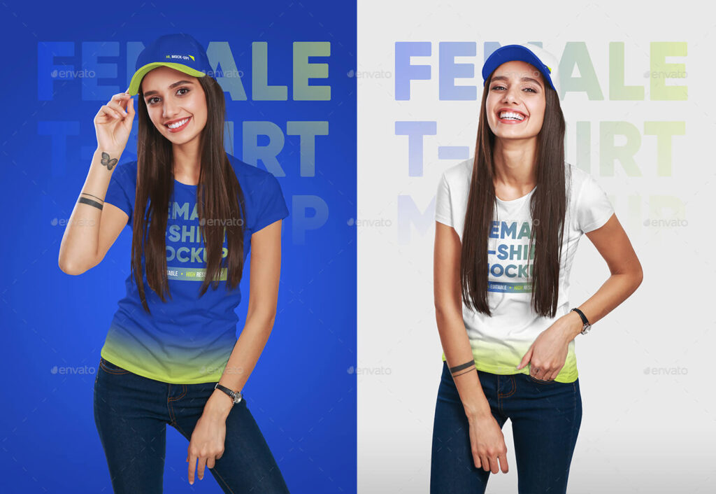 Female T-Shirt and Baseball Cap Mockup Vol2