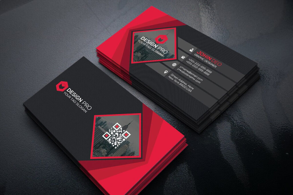 Fine Line Red and Black Business Card Template