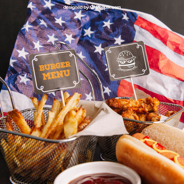 Flag of America with some Fast Food Branding PSD