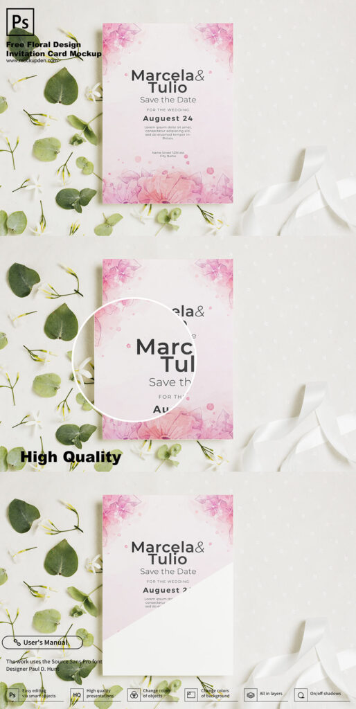 Free Floral Design Invitation Card Mockup PSD Template