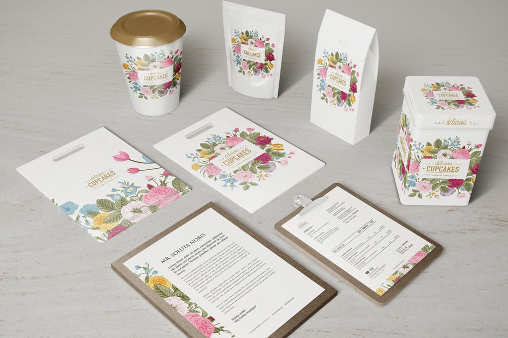 Floral Design Printed Coffee Packaging Bag Mockup