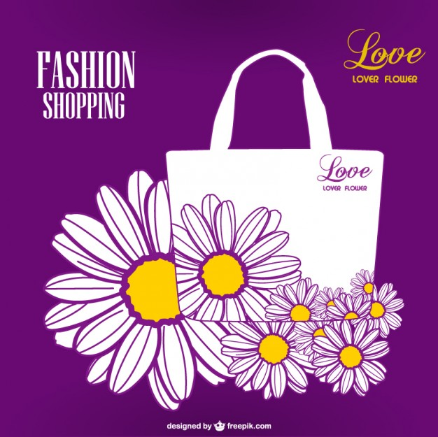 Floral Print Shopping Bag Vector Design Free