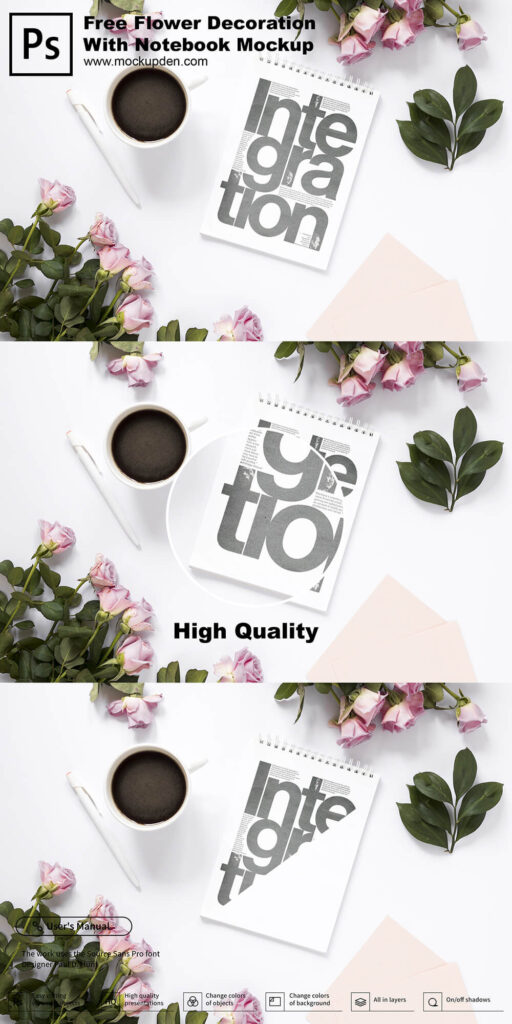Free Flower Decoration With Notebook Mockup