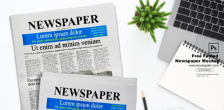 Free Folded Newspaper Mockup PSD Template