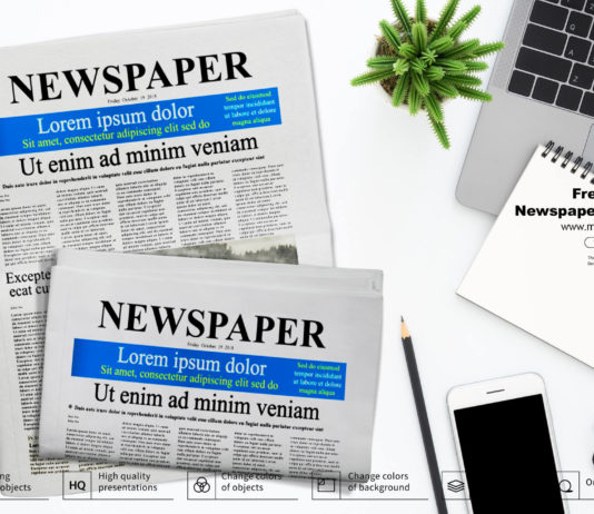Free Folded Newspaper Mockup PSD Template