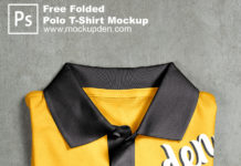 Free Folded Polo T-Shirt Mockup PSD Template