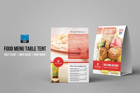 Food Menu Card PSD Design