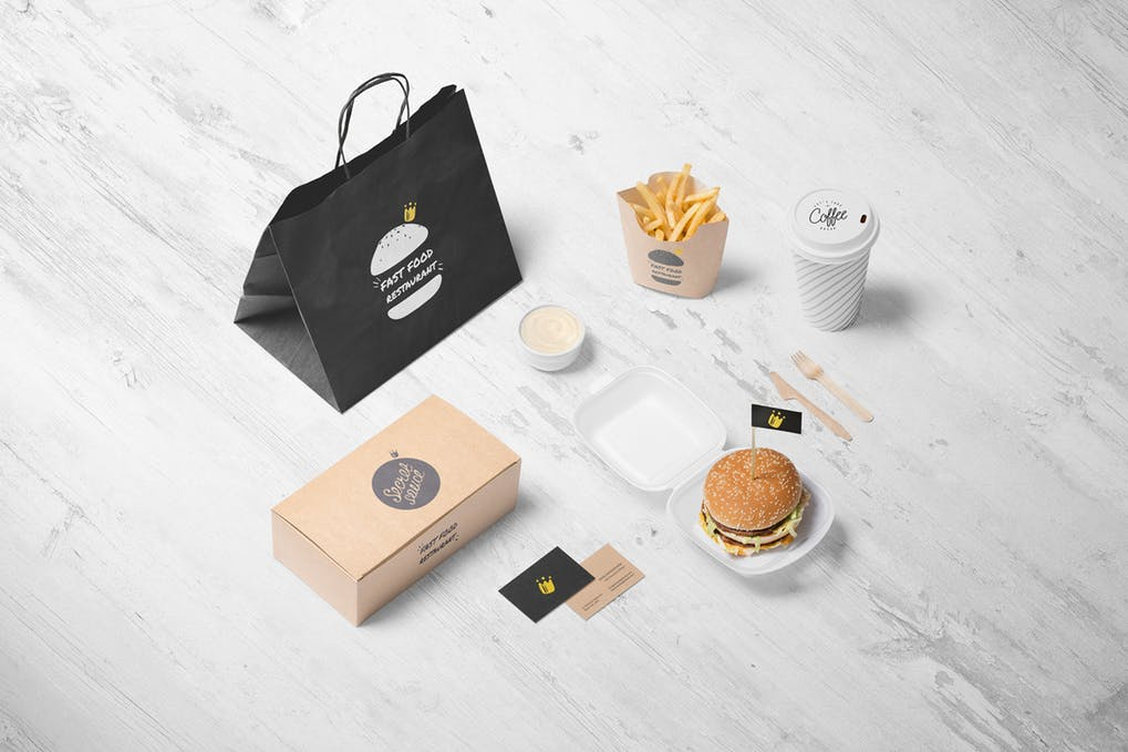 Food Offered at a Burger Store with Business Cards Design