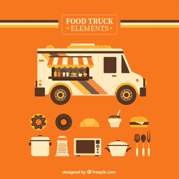 Food Truck And Other Elements In Orange Background Vector.
