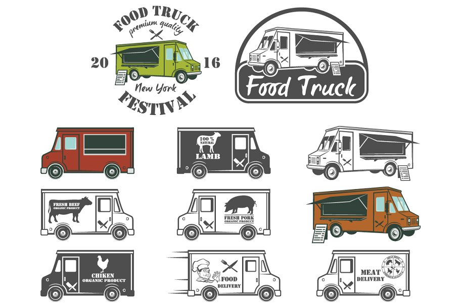 Food Truck Used In Festival PSD Template.