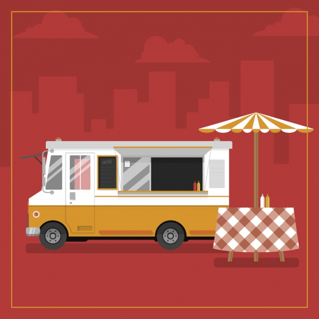 Food Truck With An Umbrella Vector.