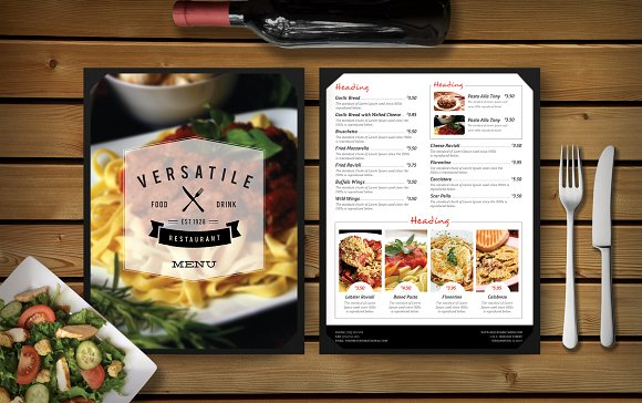 Food and Restaurant Menu Card Mockup