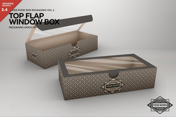 Food box with window flap at the top Mockup