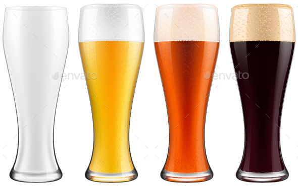 Four Beer And Juice Glass With Clean White Background