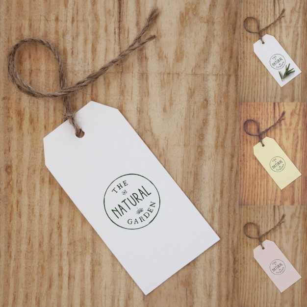 Four Different Color Hang Tag With Rope Tied Mockup