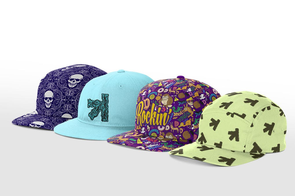 Four Different Color Printed Snapback Cap Illustration