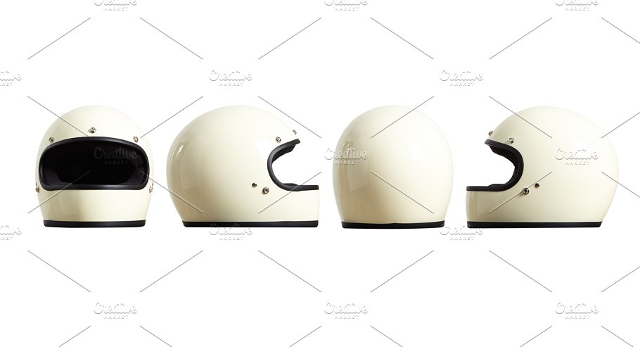 Four White Color Simple Helmet Illustration