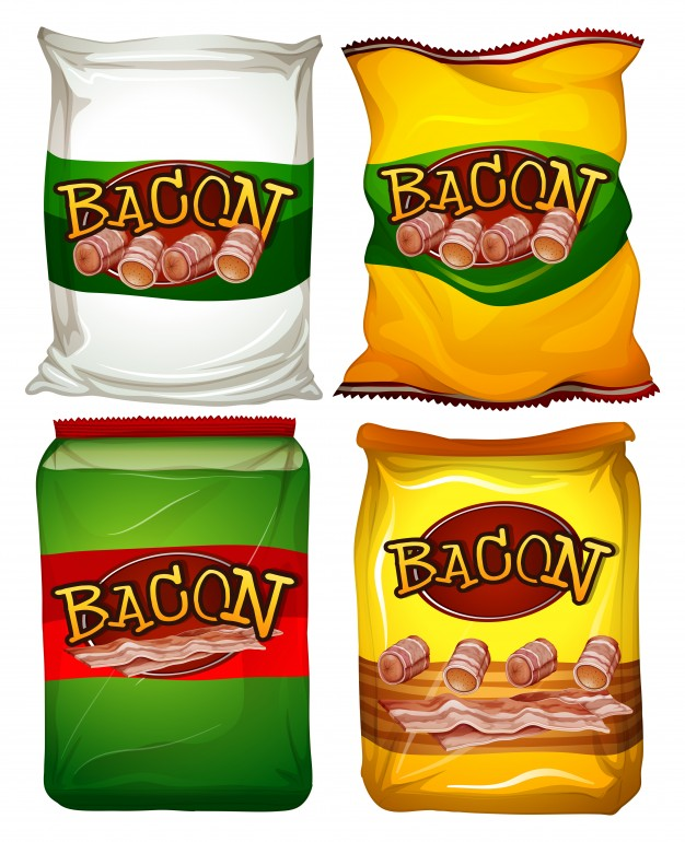 Four different color food bag Vector