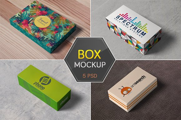 Four types of cardboard mockup box.
