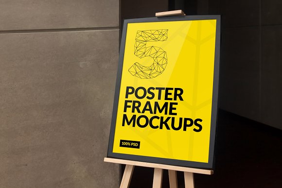 Frame Poster On the Easel PSD Template Design Idea