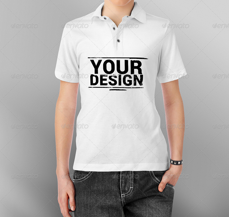 Free Apparel Mockup in the form of Polo T-shirt for Teenagers