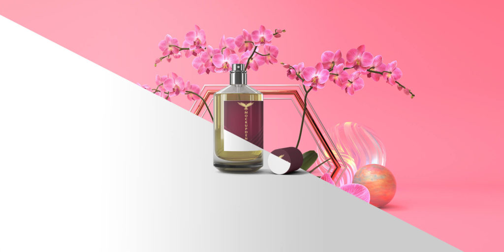 Free Attractive Perfume Bottle Mockup PSD Template
