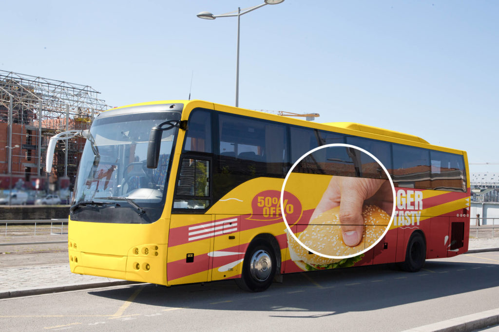 Close up of a Free Bus Advertising Mockup PSD Template