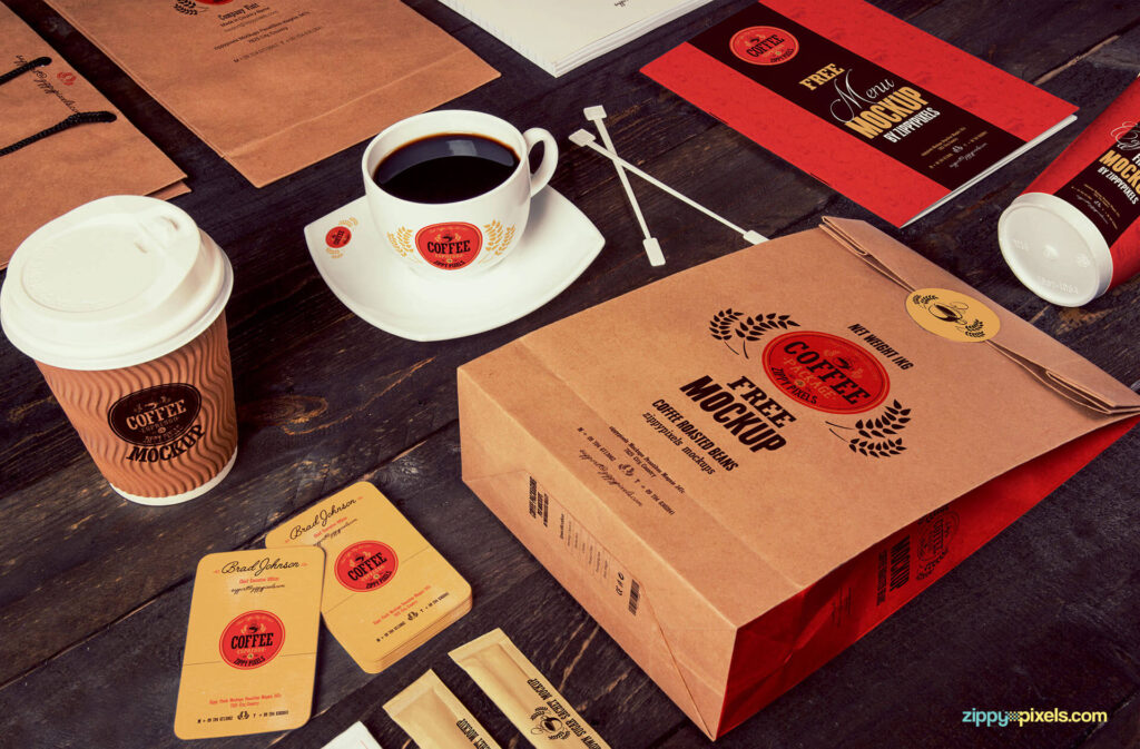 Free Coffee Branding And Packaging Bag Mockup