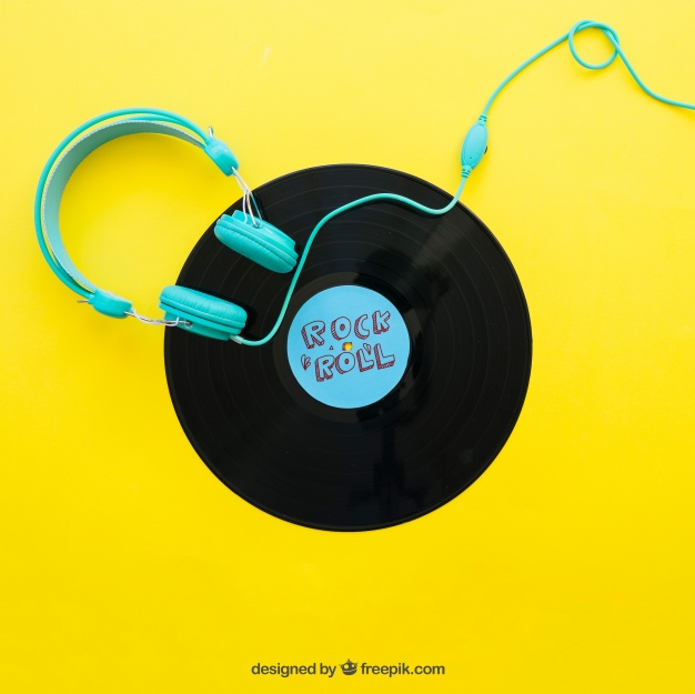 Free Headphone Mockup With Vinyl PSD.