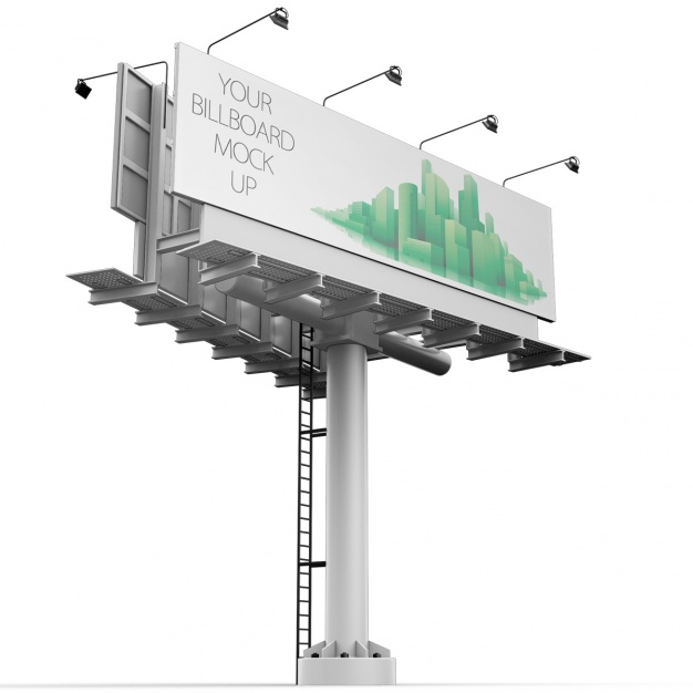 Free Hoarding Mockup placed in Light Stand.