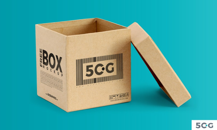 Free Open Kraft Box PSD Editable Template