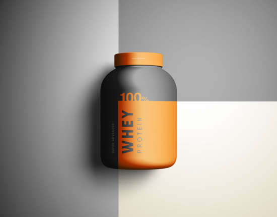 Free PSD Whey Protein Supplement Box Mockup.