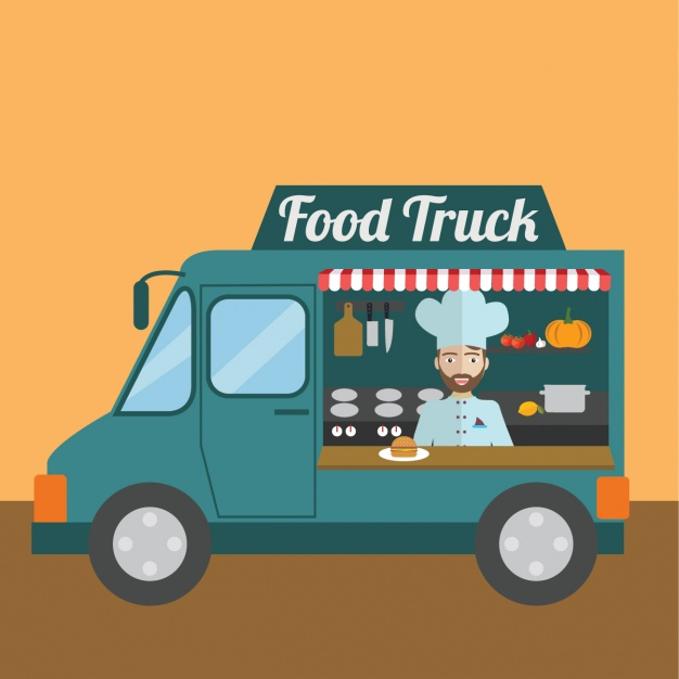 Free Vector Of AFood Truck In Yellow Background.
