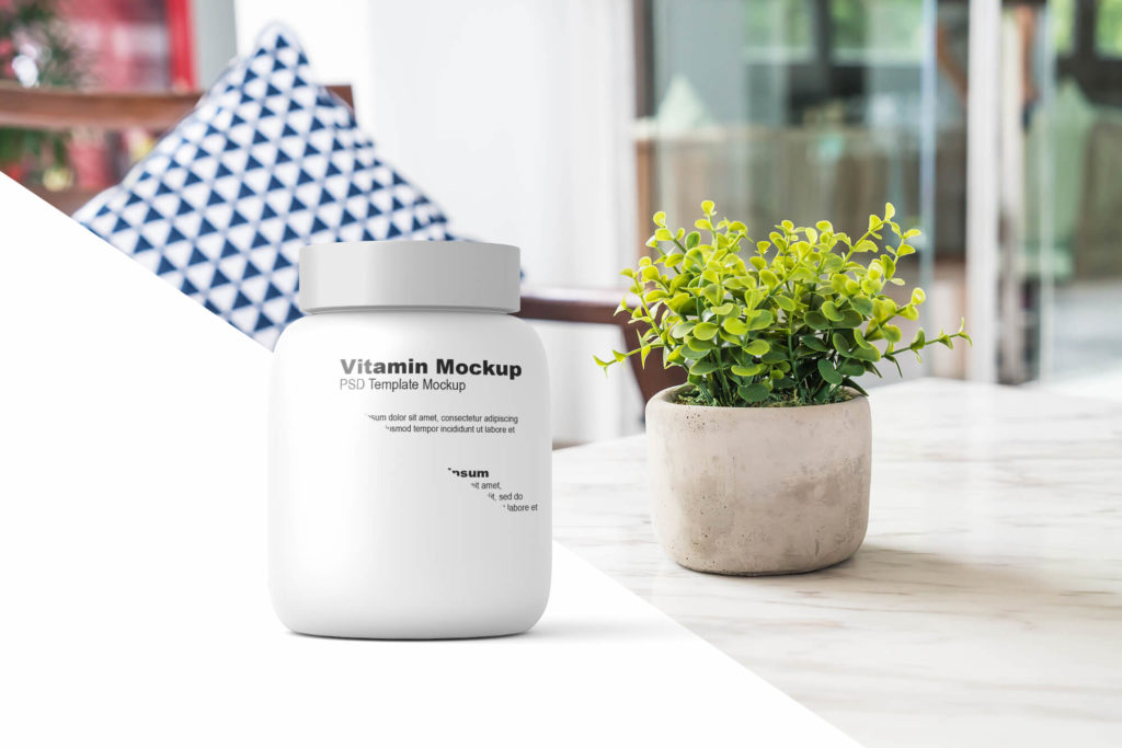 Free Vitamin Bottle Mockup PSD Template